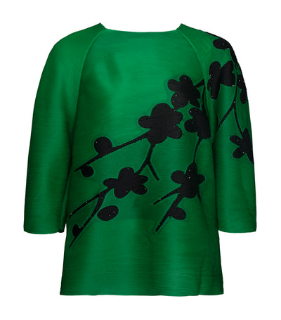 criselda rita flora detail pleated blouse green