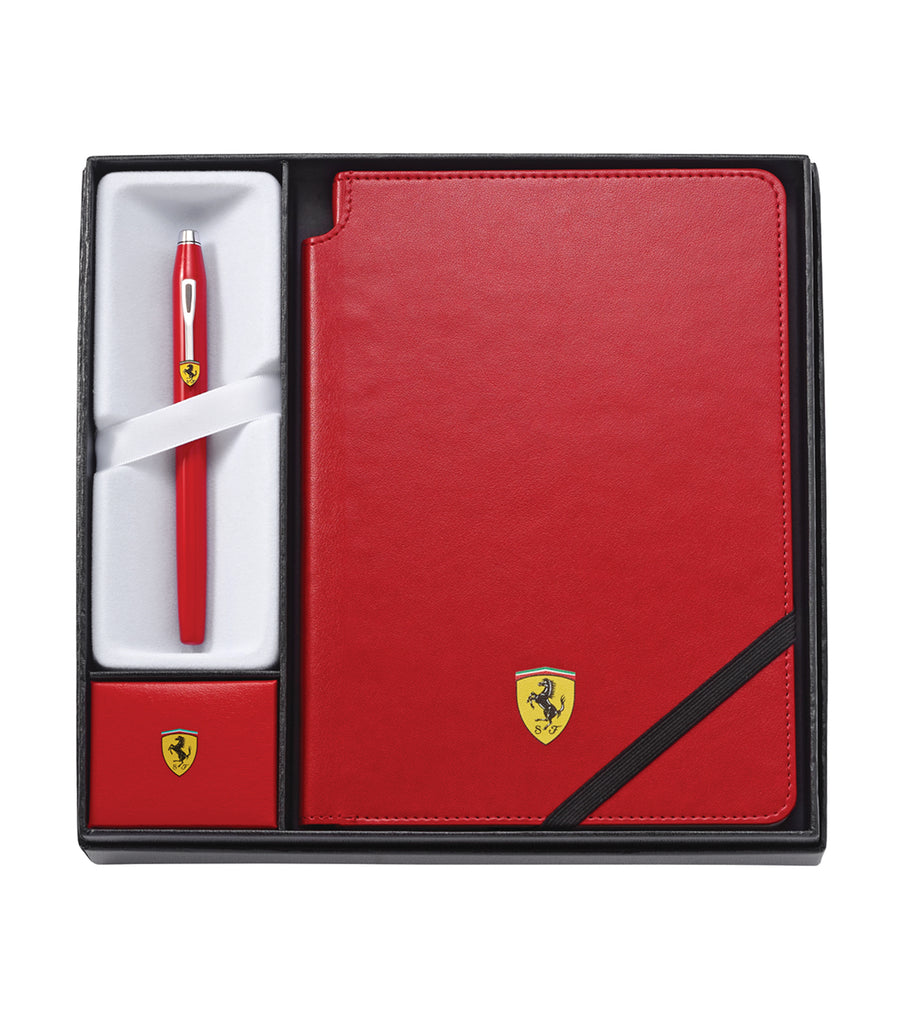 cross century ii for scuderia ferrari red rollerball pen and journal gift set