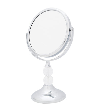 danielle creations silver double-beaded vanity mirror with five times magnification