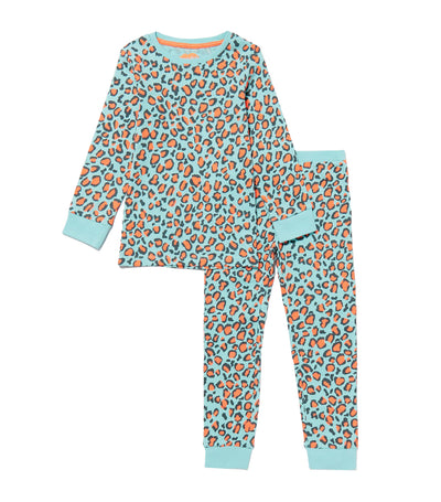 debenhams aqua bluezoo leopard print cotton pyjama set for girls