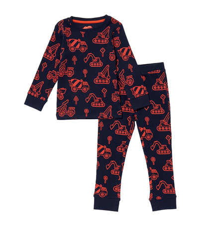 debenhams navy bluezoo digger print cotton pyjama set for boys