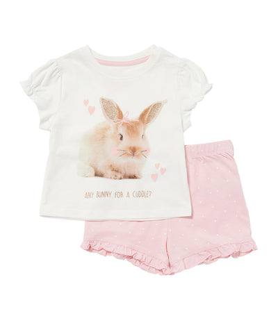 debenhams light pink bluezoo bunny print cotton pyjama set for girls