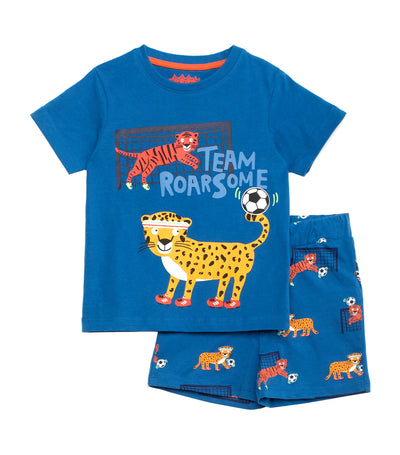 debenhams navy blue bluezoo team roarsome t-shirt and pyjama shorts set for boys