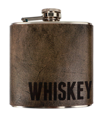 discovery shop imported espacio handmade whiskey – leather flask