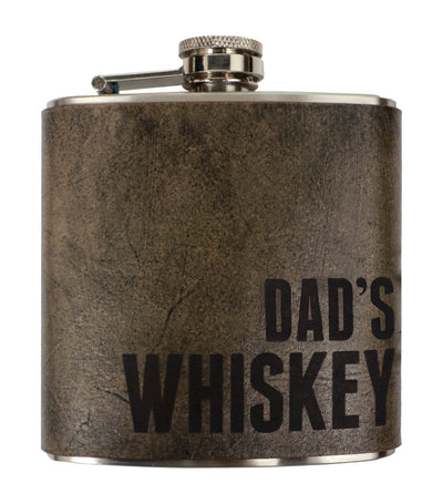 discovery shop imported espacio handmade dad's whiskey – leather flask
