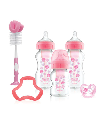 dr. brown options+ wide neck pink bottle gift set, flowers