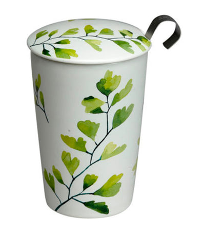 eigenart trees teave® double-wall porcelain cup with stainless steel strainer