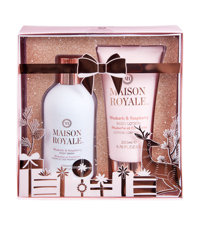 Maison Royale Rhubarb and Raspberry Body Wash + Body Lotion Gift Set
