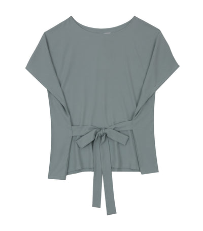 Anya Short-Sleeved Blouse with Sash Pale Green