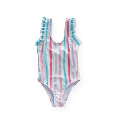 mommy hugs girls one piece swimsuit - candy stripes