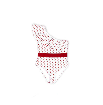 mommy hugs girls one piece swimsuit - red polka dot
