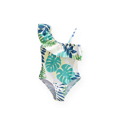mommy hugs girls one piece swimsuit - summer leaves