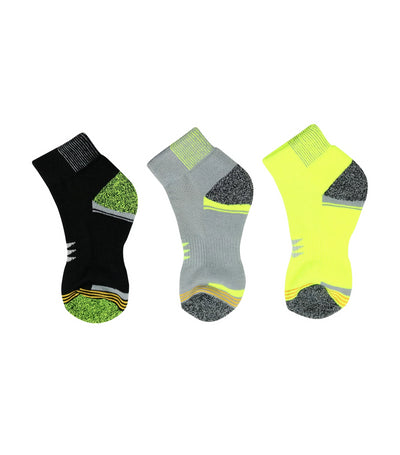 goldtoe kids lime green, gray, and black boys sports socks with mesh top and powersox logo (set of 3)