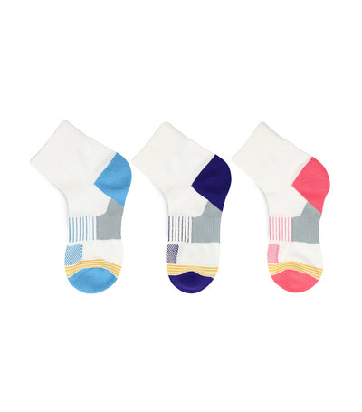 goldtoe kids pink, violet, and blue girls sports socks with mesh top design (set of 3)