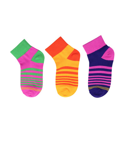 goldtoe kids purple, yellow, and violet girls quarter socks with stripes design