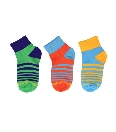 goldtoe kids green, orange, blue boys quarter socks with stripes design