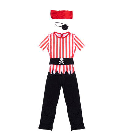 halloween boys striped top pirate costume (6-9 years old)