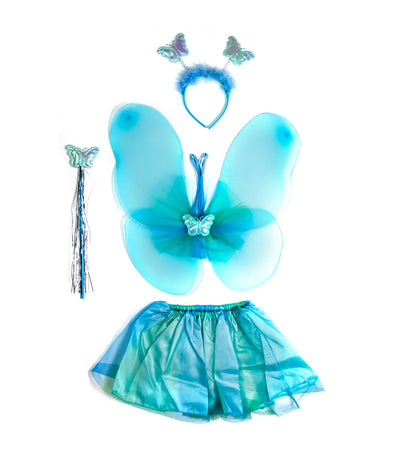 HALLOWEEN Fairy Princess Butterfly Wings Set (6-9 years old) - Blue and Green