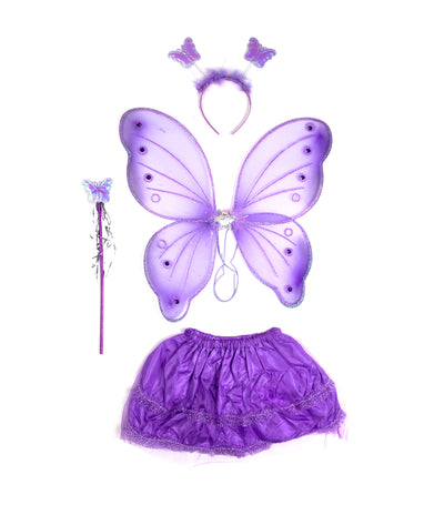 halloween purple fairy princess butterfly wings set (6-9 years old)