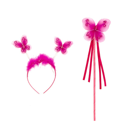 halloween dark pink party butterfly wand and headband