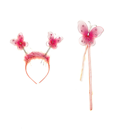 halloween pink party butterfly wand and headband
