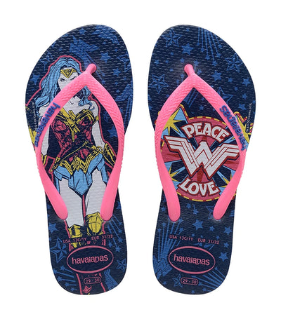 havaianas kids blue star slim wonder woman