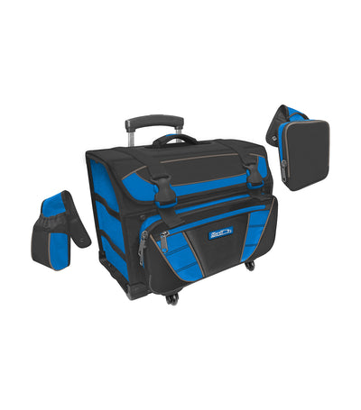 hawk black and royal blue box house trolley bag