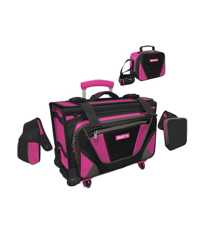 hawk black and fuchsia box trolley bag