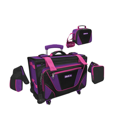 hawk black and purple box trolley bag