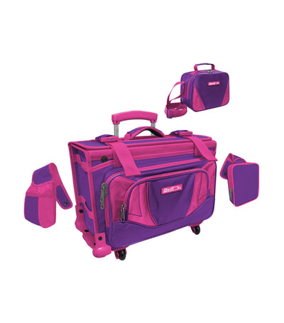 hawk box trolley bag - purple and fuchsia