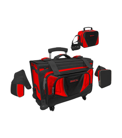 hawk black and red box trolley bag