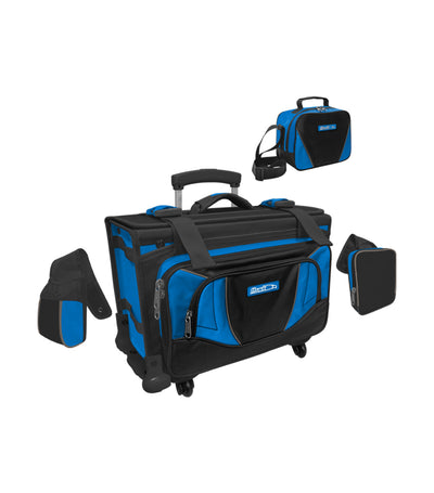 hawk black and royal blue box trolley bag