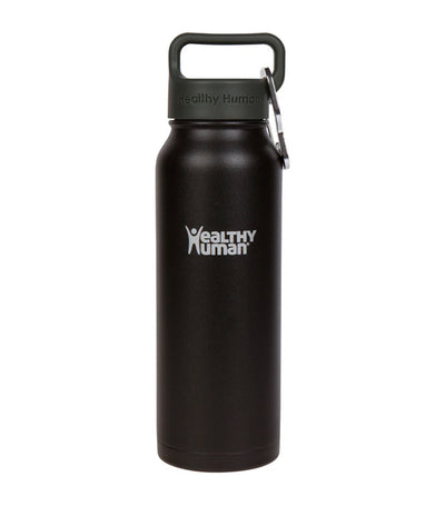 healthy human pure black 21oz stein insulated water bottle