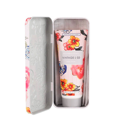 heathcote & ivory vintage and co. patterns and petals hand cream in tin
