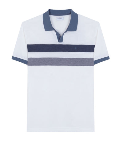 Short-Sleeved Polo Shirt with Color Block White