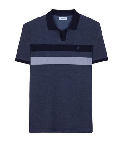 Short-Sleeved Polo Shirt with Color Block Navy