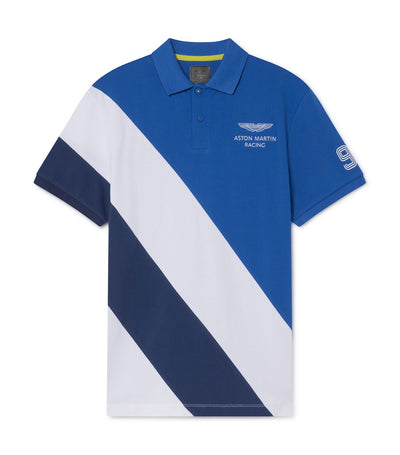 Aston Martin Diagonal Panels Cotton Short-Sleeved Polo Shirt Blue