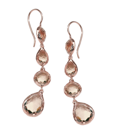 ippolita rosé rock candy multi shape drop earrings in smokey quartz