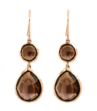 Rosé Rock Candy Mixed Round Teardrop Earrings in Smokey Quartz