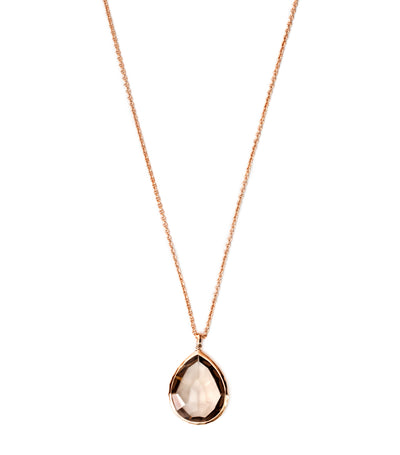 Rosé Rock Candy Large Teardrop Pendant Necklace with Smokey Quartz