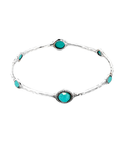 ippolita sterling silver stella bangle in turquoise doublet with diamonds