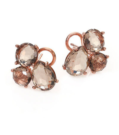 ippolita rosé rock candy cluster stud earrings in smokey quartz