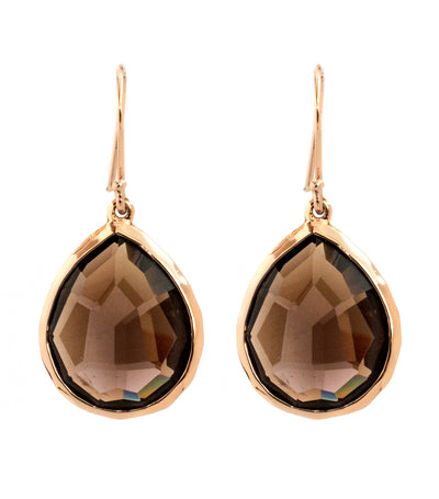 ippolita rosé rock candy large teardrop earrings with smokey quartz