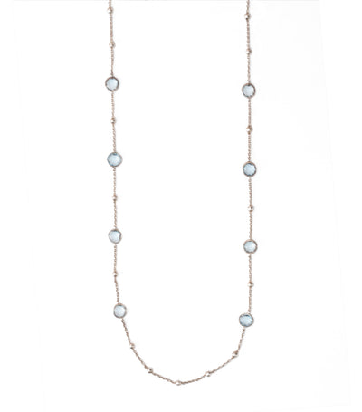 sterling silver rock candy mini lollipop hammered ball necklace in blue topaz 38""
