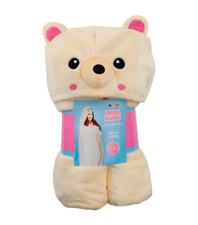 iscream cream bear hooded blanket