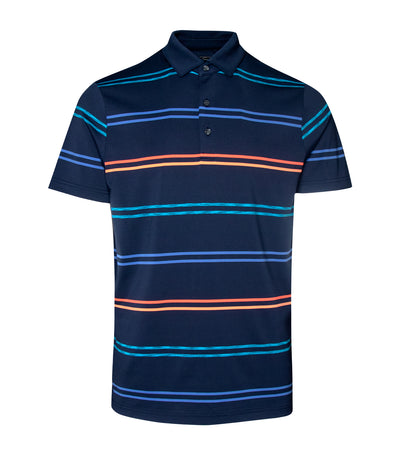 jack nicklaus polyester spandex coolplus space dye stripe polo shirt classic navy