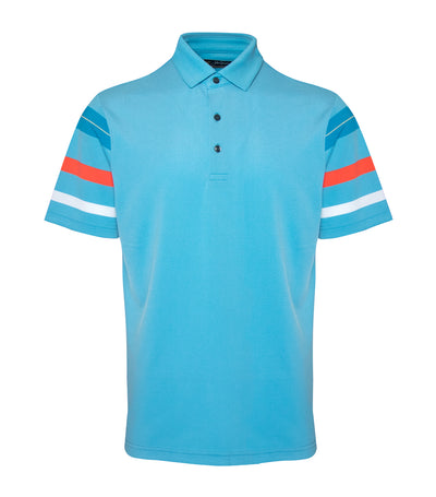 jack nicklaus polyester spandex coolplus heather block stripe blue jewel