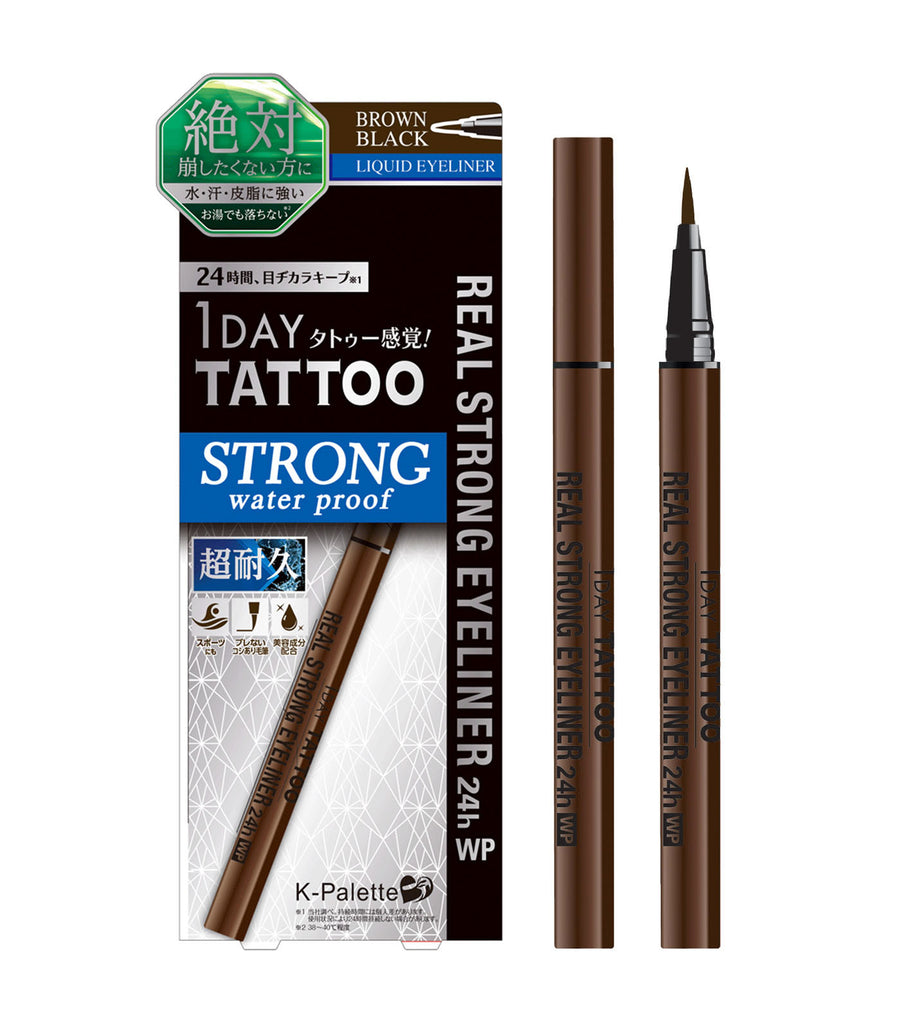 k-palette brown black 1 day tattoo real strong eyeliner