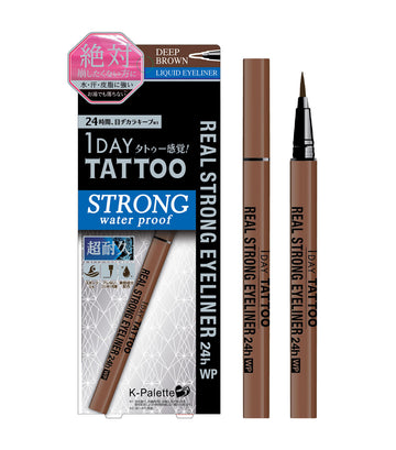 k-palette deep brown 1 day tattoo real strong eyeliner