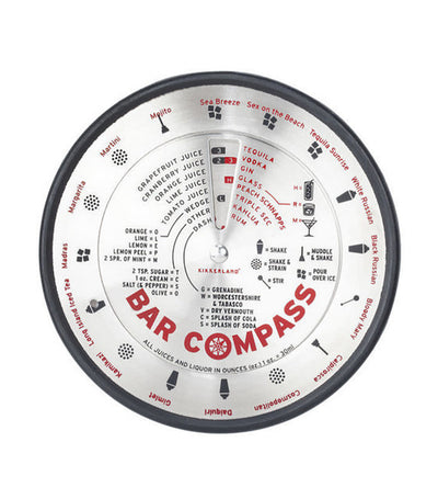 kikkerland bar compass with cocktail recipes